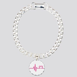 Frequency pink heart Charm Bracelet, One Charm
