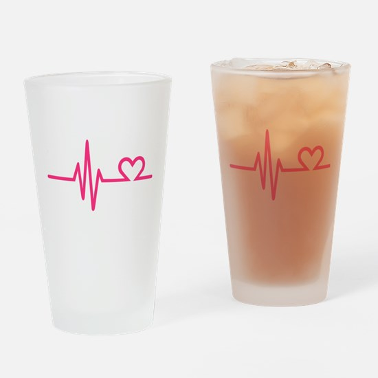 Frequency pink heart Drinking Glass