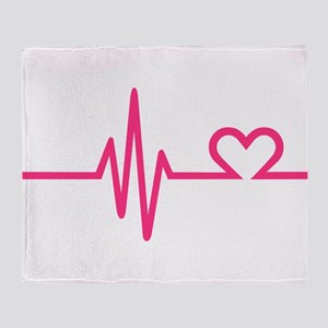 Frequency pink heart Throw Blanket