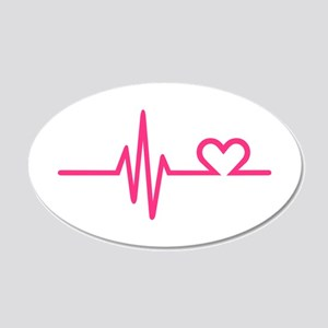 Frequency pink heart 20x12 Oval Wall Decal