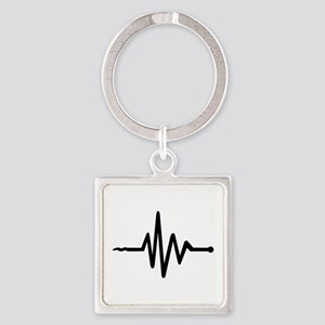 Frequency music Square Keychain
