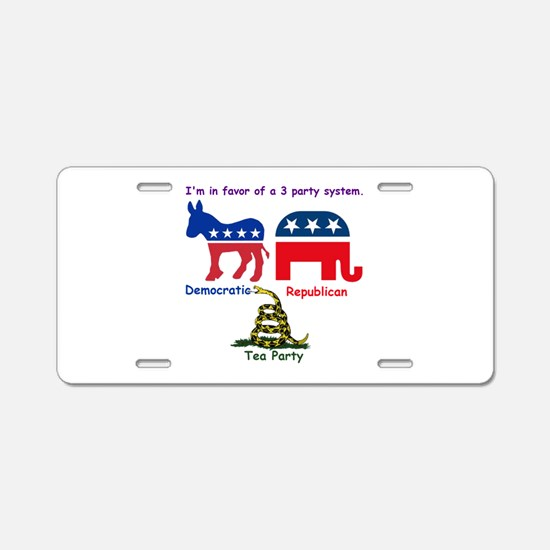 3 Party System Aluminum License Plate