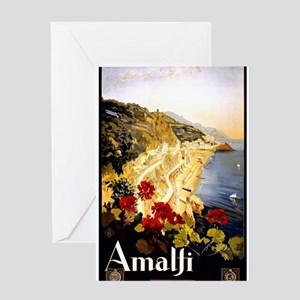 Antique Italy Amalfi Coast Travel Poster Greeting
