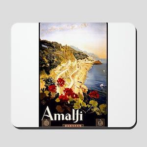 Antique Italy Amalfi Coast Travel Poster Mousepad