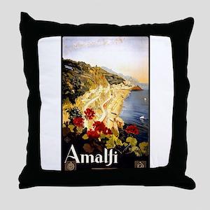 Antique Italy Amalfi Coast Travel Poster Throw Pil