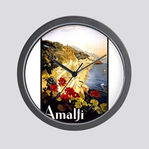 Antique Italy Amalfi Coast Travel Poster Wall Cloc