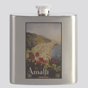 Antique Italy Amalfi Coast Travel Poster Flask