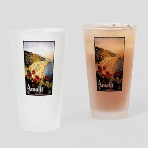 Antique Italy Amalfi Coast Travel Poster Drinking