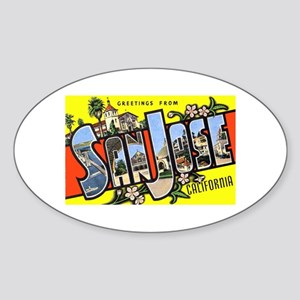 San Jose California Greetings Oval Sticker