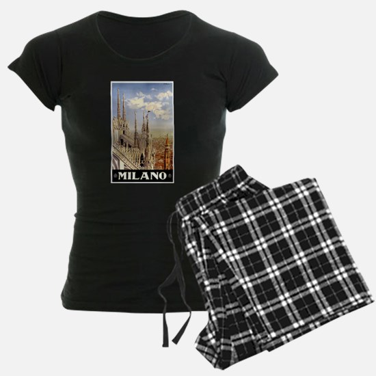 Antique Italy Milan Cathedral Travel Poster Pajama
