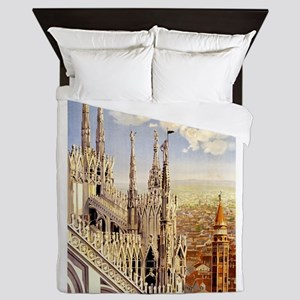 Antique Italy Milan Cathedral Travel Poster Queen