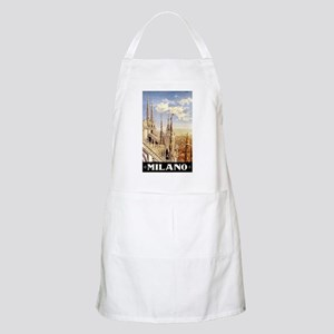 Antique Italy Milan Cathedral Travel Poster Apron