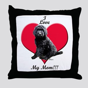 I Love My Mom!!! Black Goldendoodle Throw Pillow