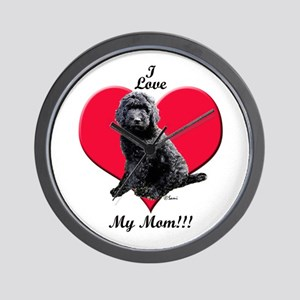 I Love My Mom!!! Black Goldendoodle Wall Clock