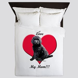 I Love My Mom!!! Black Goldendoodle Queen Duvet