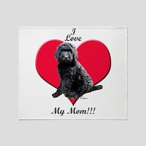 I Love My Mom!!! Black Goldendoodle Throw Blanket