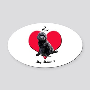 I Love My Mom!!! Black Goldendoodle Oval Car Magne