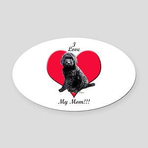 I Love My Mom!!! Black Goldendoodle Oval Car Magne