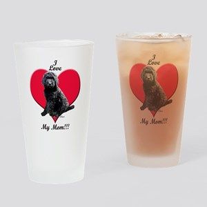 I Love My Mom!!! Black Goldendoodle Drinking Glass