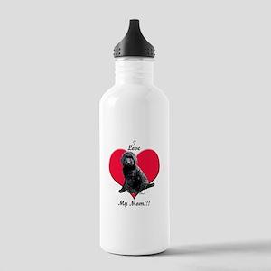 I Love My Mom!!! Black Goldendoodle Water Bottle
