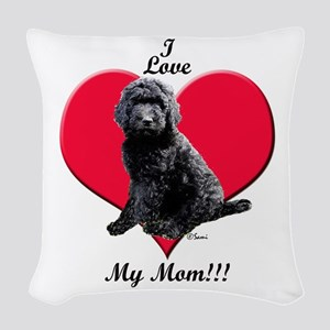 I Love My Mom!!! Black Goldendoodle Woven Throw Pi