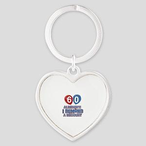 60 years birthday gifts Heart Keychain