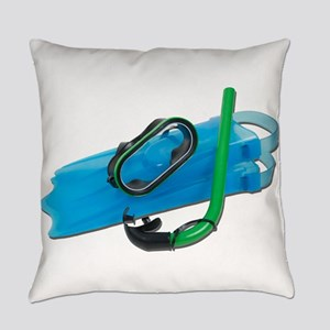 SwimmingGogglesSnorkelFins101311.p Everyday Pillow