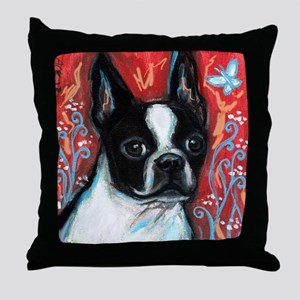 Portrait of smiling Boston Terrier Throw Pillow