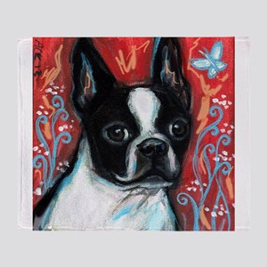 Portrait of smiling Boston Terrier Throw Blanket