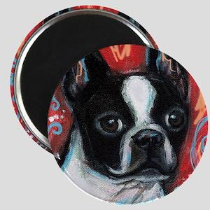Portrait of smiling Boston Terrier Magnet