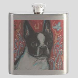 Portrait of smiling Boston Terrier Flask