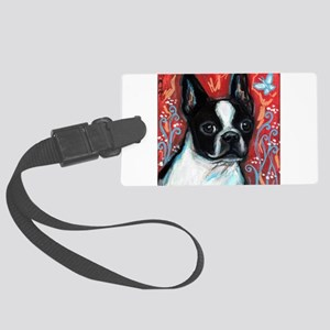 Portrait of smiling Boston Terrier Luggage Tag