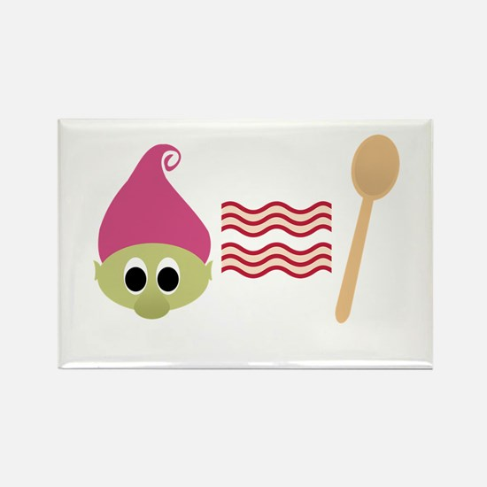Troll Bacon Spoon Rectangle Magnet
