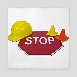 StopSignHardHatSafetyCones091711 Queen Duvet