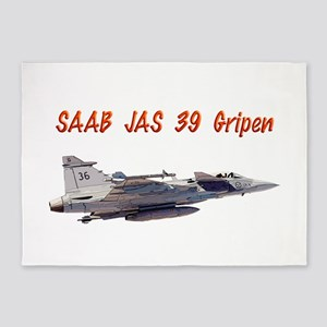 Saab JAS 39 Gripen w text 5'x7'Area Rug