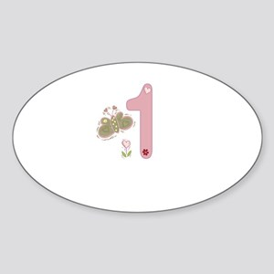 """Butterfly Birthday: 1"" Oval Sticker"