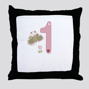"""""""Butterfly Birthday: 1"""" Throw Pillow"""