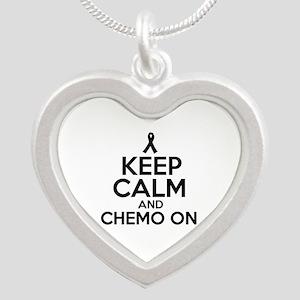 Cancer survival designs Silver Heart Necklace