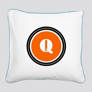 Orange Square Canvas Pillow