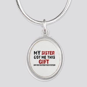 Cool Sister Designs Silver Oval Necklace