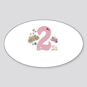 """Butterfly Birthday: 2"" Oval Sticker"