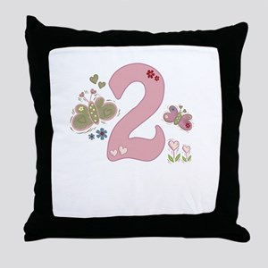 """""""Butterfly Birthday: 2"""" Throw Pillow"""