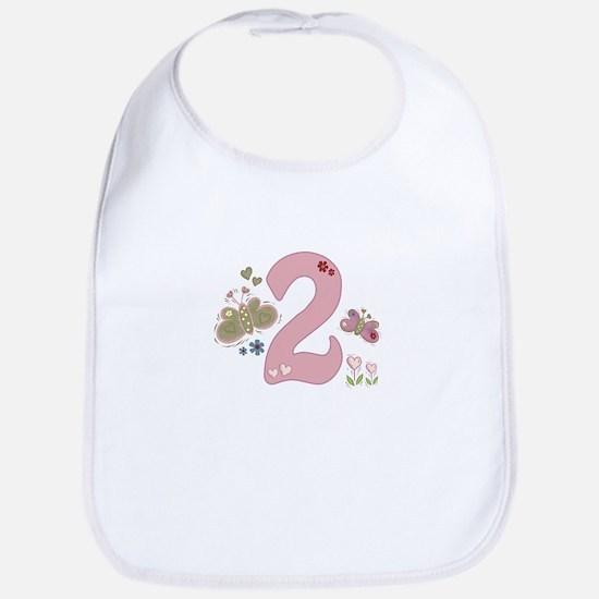 """""""Butterfly Birthday: 2"""" Bib"""