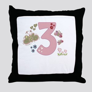 """""""Butterfly Birthday: 3"""" Throw Pillow"""