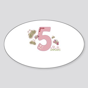 """Butterfly Birthday: 5"" Oval Sticker"