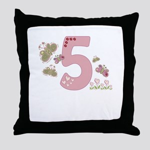 """""""Butterfly Birthday: 5""""  Throw Pillow"""