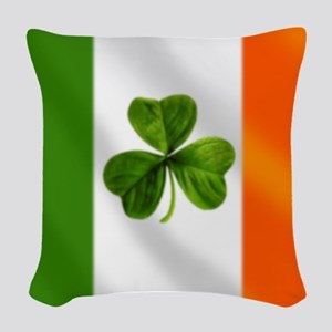 Irish Shamrock Flag Woven Throw Pillow