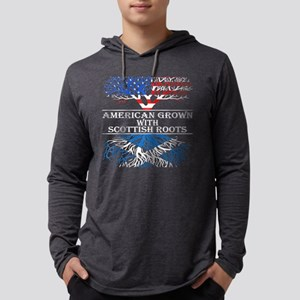 American Grown With Scottish Roo Mens Hooded Shirt