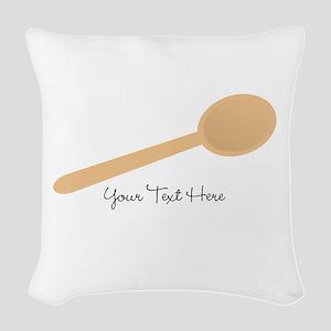 Spoon. Wooden. Woven Throw Pillow