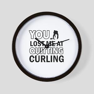 Hardcore Curling designs Wall Clock